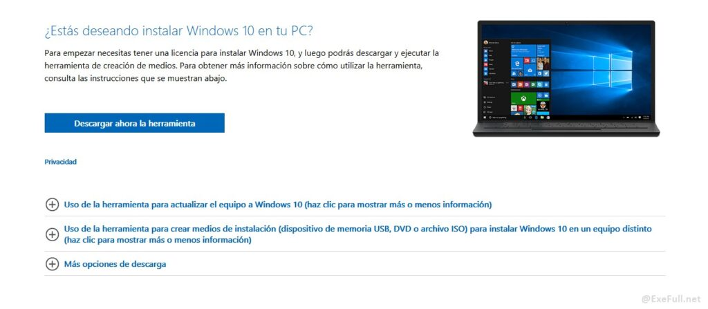 Descargar Windows 10 Microsoft